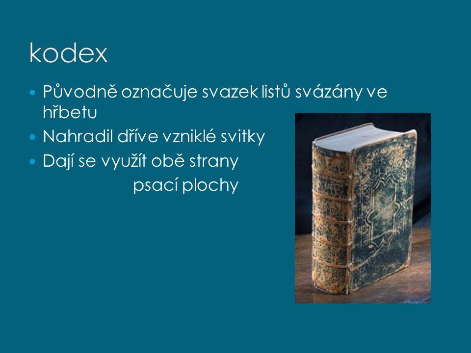 Původně označuje svazek listů svázány ve hřbetu Nahradil dříve vzniklé svitky Dají se využít obě strany psací plochy