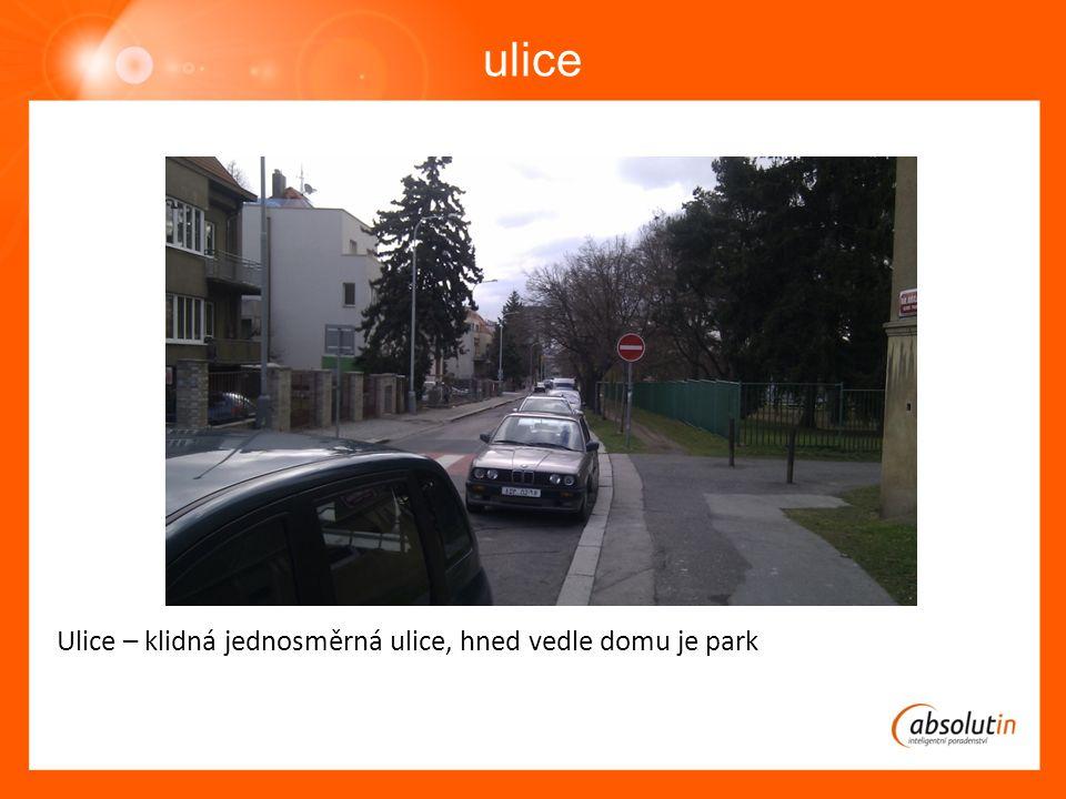 ulice Ulice – klidná jednosměrná ulice, hned vedle domu je park