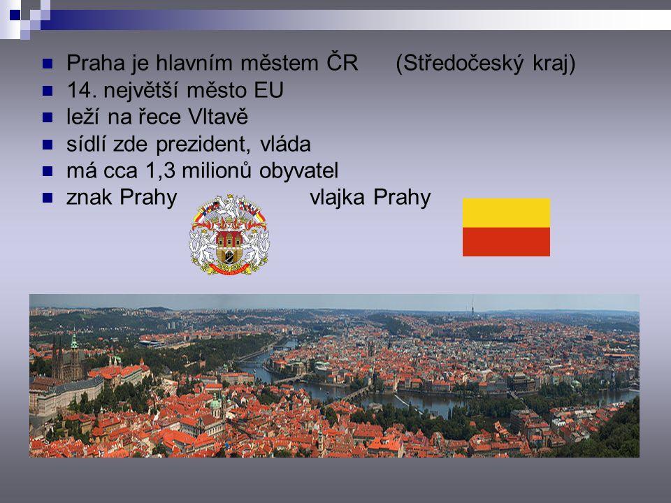 Praha je hlavním městem ČR (Středočeský kraj) 14.