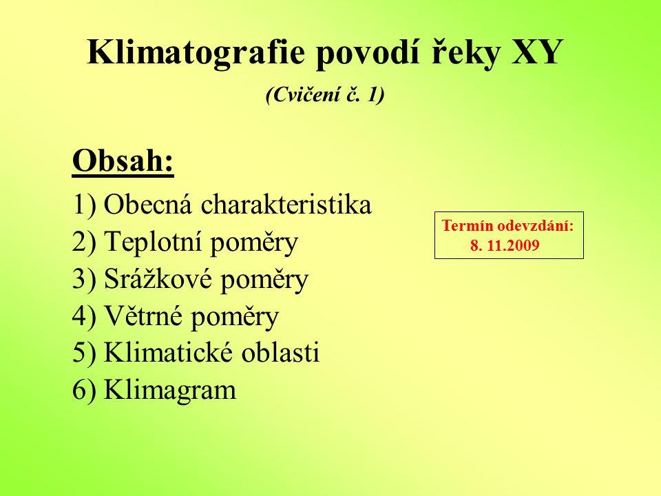 Klimatografie povodí řeky XY (Cvičení č. 1) Obsah: 1) Obecná charakteristika 2) Teplotní poměry 3) Srážkové poměry 4) Větrné poměry 5) Klimatické obla