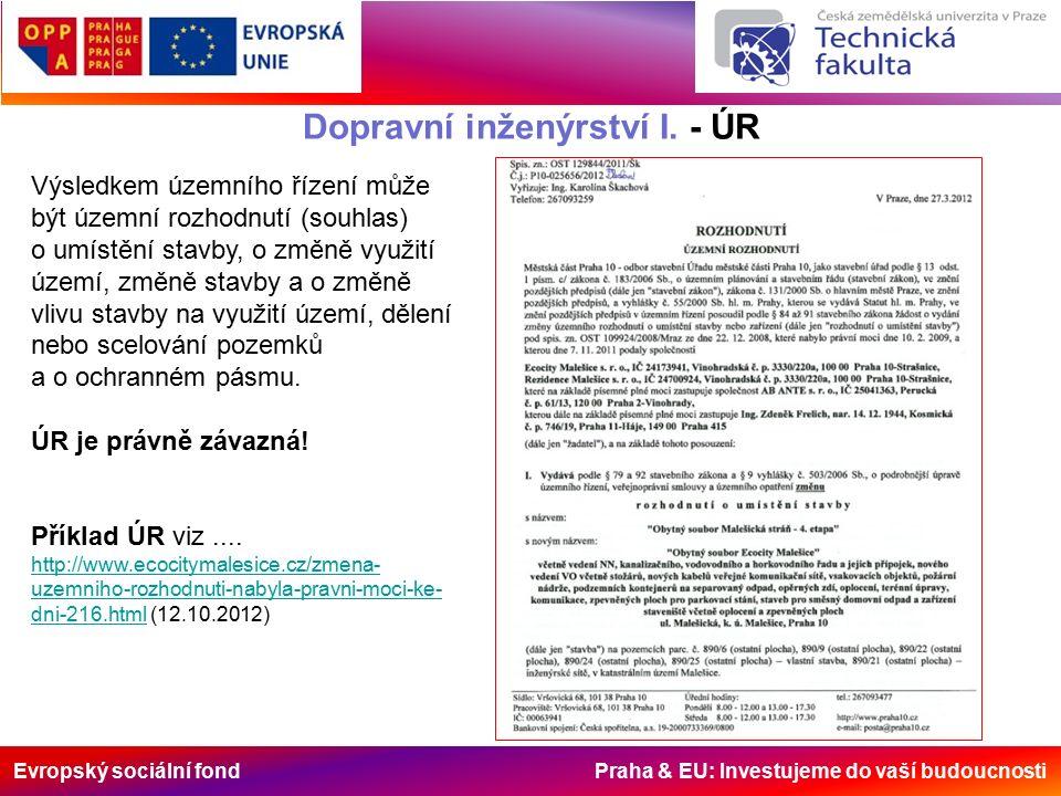Evropský sociální fond Praha & EU: Investujeme do vaší budoucnosti Dopravní inženýrství I. - ÚR Výsledkem územního řízení může být územní rozhodnutí (
