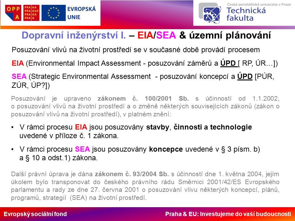 Evropský sociální fond Praha & EU: Investujeme do vaší budoucnosti Dopravní inženýrství I. – EIA/SEA & územní plánování Posuzování vlivů na životní pr