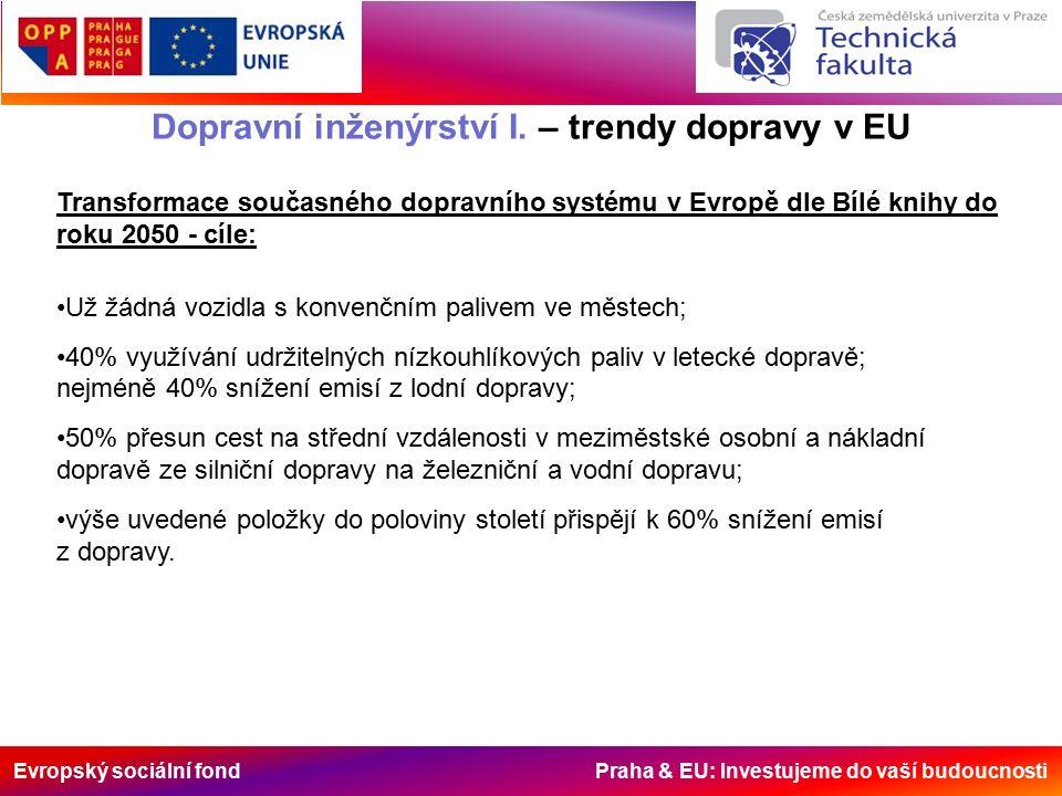 Evropský sociální fond Praha & EU: Investujeme do vaší budoucnosti Dopravní inženýrství I. – trendy dopravy v EU Transformace současného dopravního sy