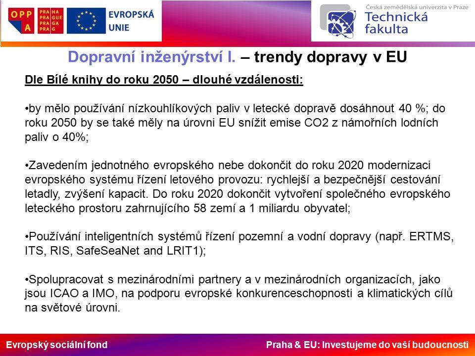 Evropský sociální fond Praha & EU: Investujeme do vaší budoucnosti Dopravní inženýrství I. – trendy dopravy v EU Dle Bílé knihy do roku 2050 – dlouhé