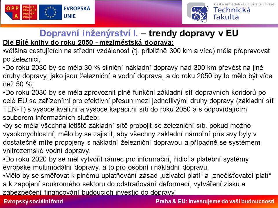 Evropský sociální fond Praha & EU: Investujeme do vaší budoucnosti Dopravní inženýrství I. – trendy dopravy v EU Dle Bílé knihy do roku 2050 - meziměs