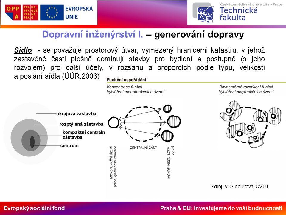 Evropský sociální fond Praha & EU: Investujeme do vaší budoucnosti Dopravní inženýrství I. – generování dopravy Sídlo - se považuje prostorový útvar,