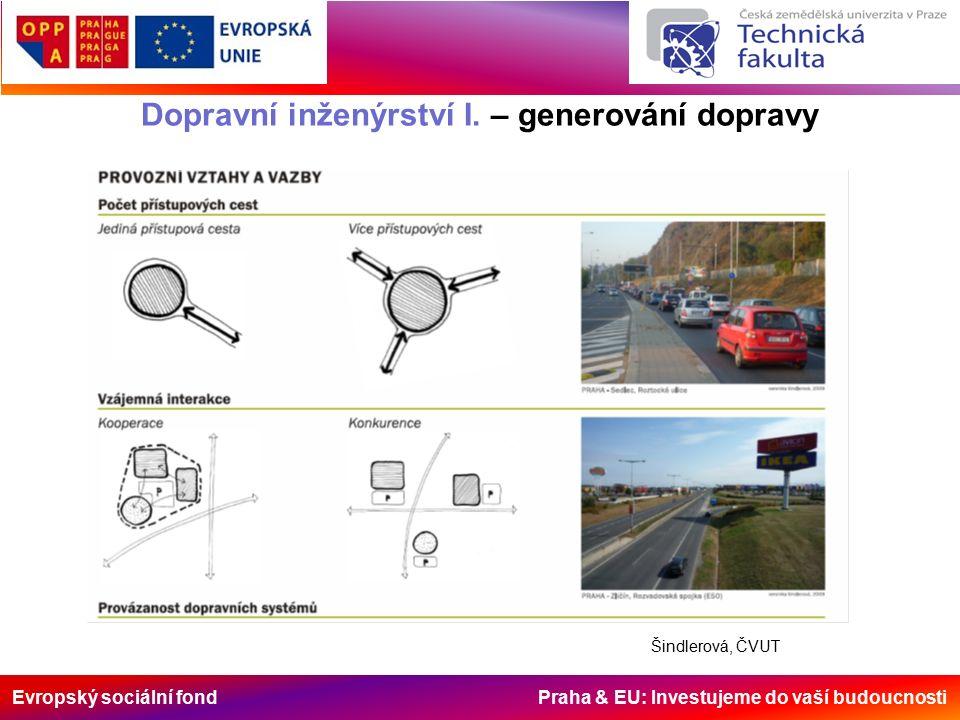 Evropský sociální fond Praha & EU: Investujeme do vaší budoucnosti Dopravní inženýrství I. – generování dopravy Šindlerová, ČVUT