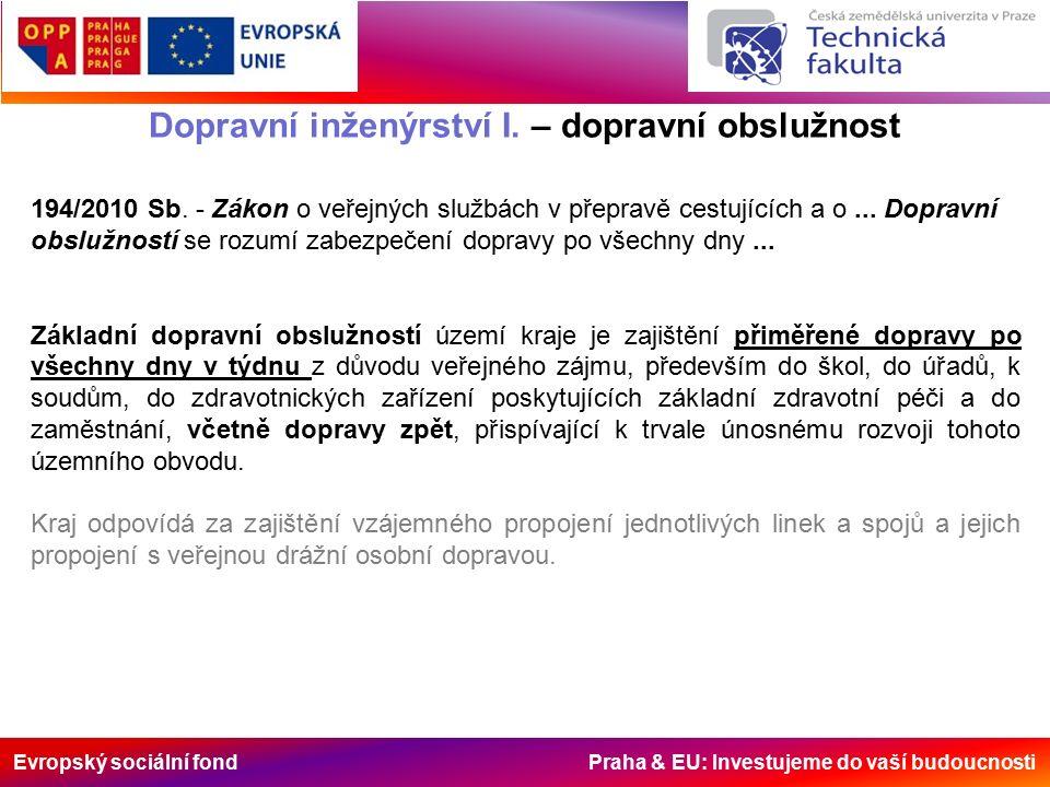 Evropský sociální fond Praha & EU: Investujeme do vaší budoucnosti Dopravní inženýrství I. – dopravní obslužnost 194/2010 Sb. - Zákon o veřejných služ