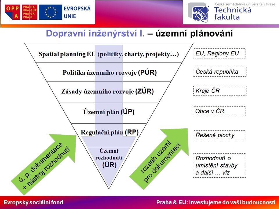 Evropský sociální fond Praha & EU: Investujeme do vaší budoucnosti Dopravní inženýrství I. – územní plánování ú. p. dokumentace + nástroj rozhodnutí r