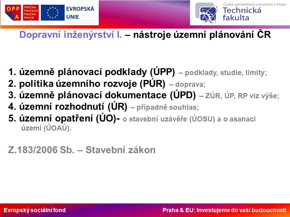 Evropský sociální fond Praha & EU: Investujeme do vaší budoucnosti Dopravní inženýrství I. – nástroje územní plánování ČR 1.územně plánovací podklady
