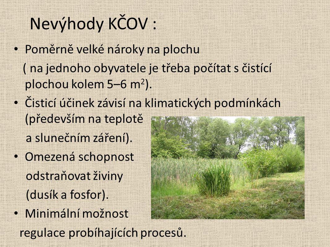Nevýhody KČOV : Poměrně velké nároky na plochu ( na jednoho obyvatele je třeba počítat s čistící plochou kolem 5–6 m 2 ).