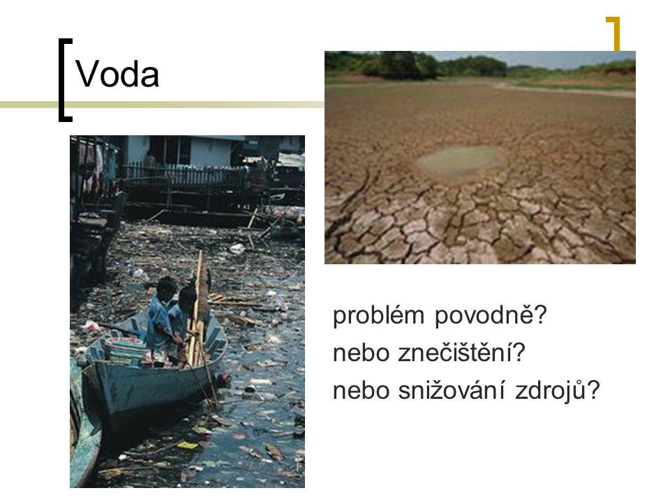 Voda problém povodně nebo znečištění nebo snižování zdrojů