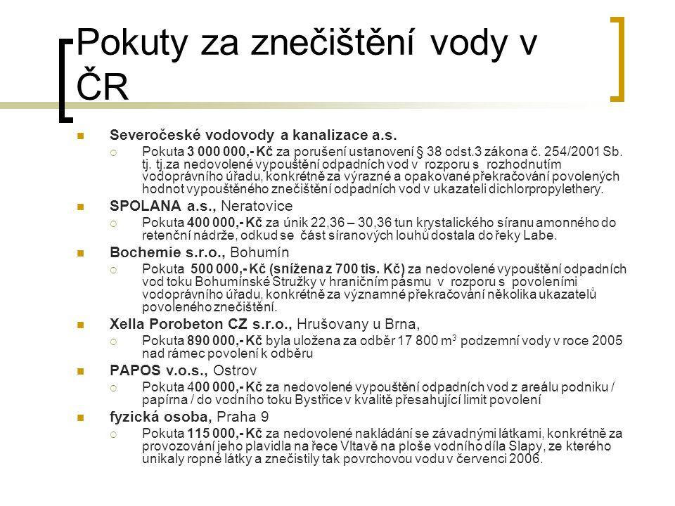Pokuty za znečištění vody v ČR Severočeské vodovody a kanalizace a.s.