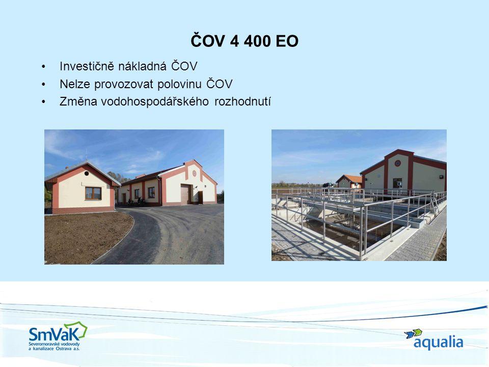 ČOV 4 400 EO Investičně nákladná ČOV Nelze provozovat polovinu ČOV Změna vodohospodářského rozhodnutí