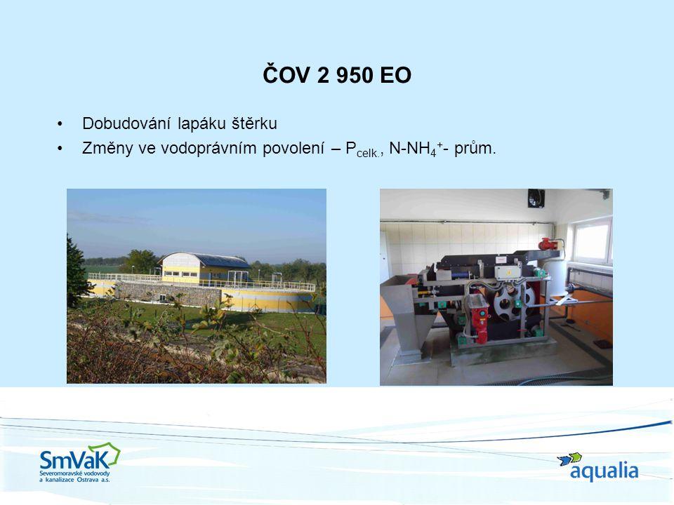 ČOV 2 950 EO Dobudování lapáku štěrku Změny ve vodoprávním povolení – P celk., N-NH 4 + - prům.
