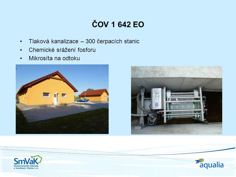 ČOV 1 642 EO Tlaková kanalizace – 300 čerpacích stanic Chemické srážení fosforu Mikrosíta na odtoku