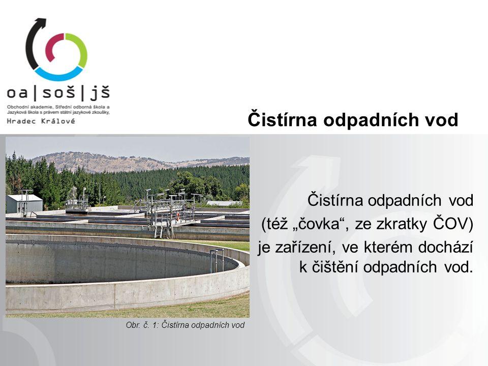 """Čistírna odpadních vod (též """"čovka , ze zkratky ČOV) je zařízení, ve kterém dochází k čištění odpadních vod."""