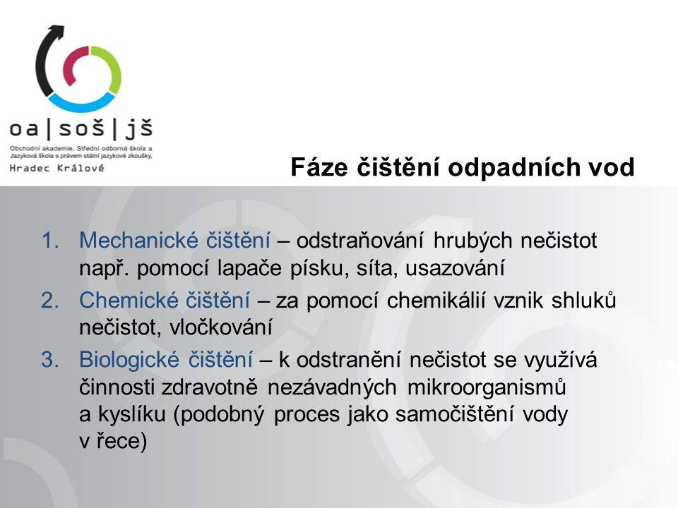 Fáze čištění odpadních vod 1.Mechanické čištění – odstraňování hrubých nečistot např.