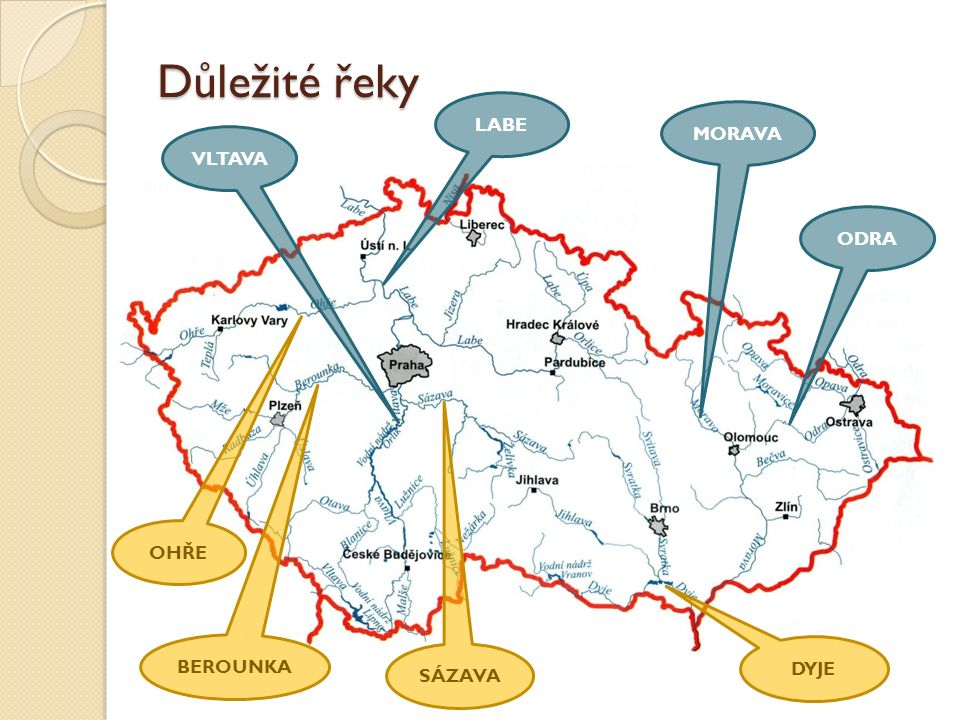 Řeky VLTAVA, naše nejdelší řeka Měří 430 km.Pramení v pohoří Šumava.