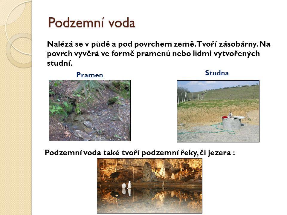 Podzemní voda Nalézá se v půdě a pod povrchem země.