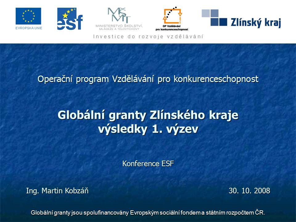 I n v e s t i c e d o r o z v o j e v z d ě l á v á n í Globální granty jsou spolufinancovány Evropským sociální fondem a státním rozpočtem ČR.