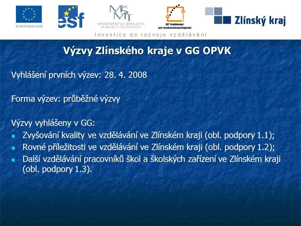 I n v e s t i c e d o r o z v o j e v z d ě l á v á n í Výzvy Zlínského kraje v GG OPVK Vyhlášení prvních výzev: 28.