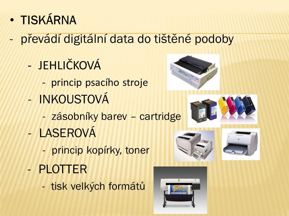 TISKÁRNA -převádí digitální data do tištěné podoby -PLOTTER -tisk velkých formátů -LASEROVÁ -princip kopírky, toner -JEHLIČKOVÁ -princip psacího stroje -INKOUSTOVÁ -zásobníky barev – cartridge