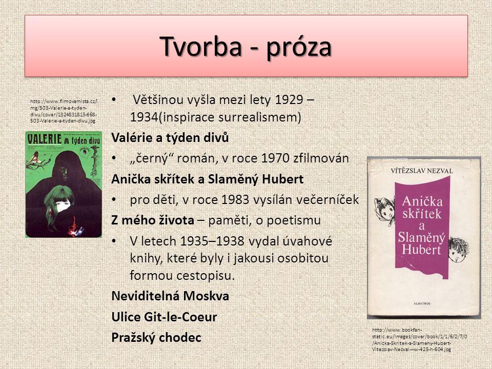 """Tvorba - próza Většinou vyšla mezi lety 1929 – 1934(inspirace surrealismem) Valérie a týden divů """"černý"""" román, v roce 1970 zfilmován Anička skřítek a"""