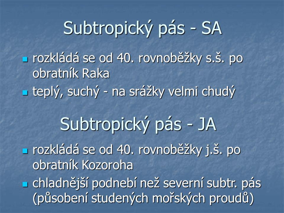 Subtropický pás - SA rozkládá se od 40. rovnoběžky s.š. po obratník Raka rozkládá se od 40. rovnoběžky s.š. po obratník Raka teplý, suchý - na srážky