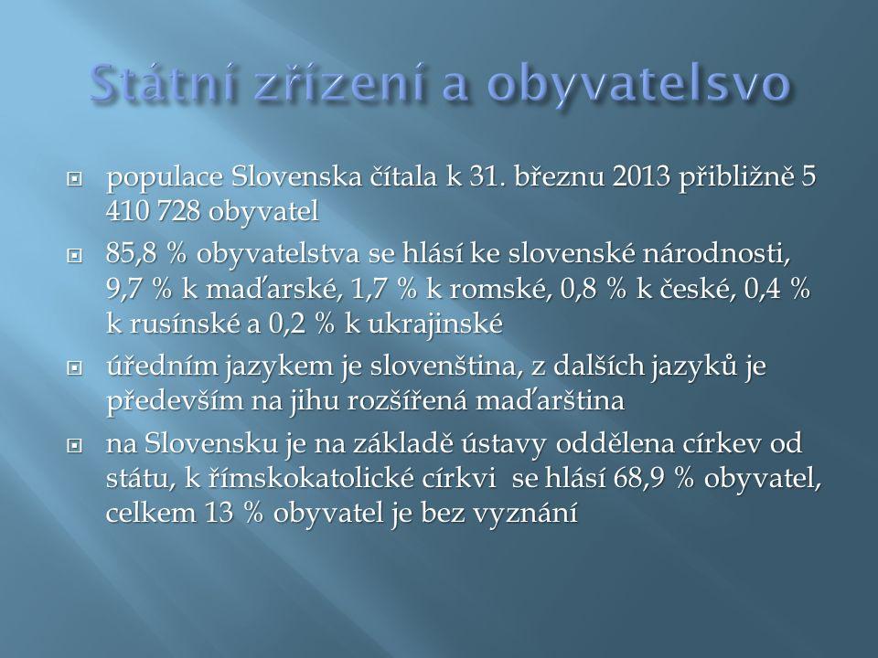  populace Slovenska čítala k 31.