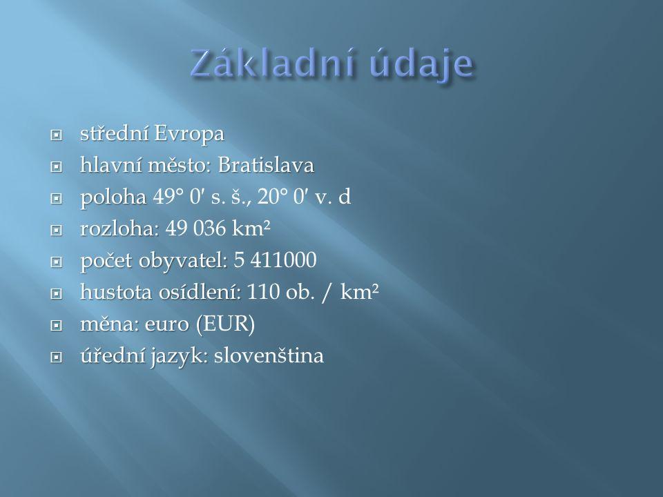  střední Evropa  hlavní město: Bratislava  poloha  poloha 49° 0′ s.