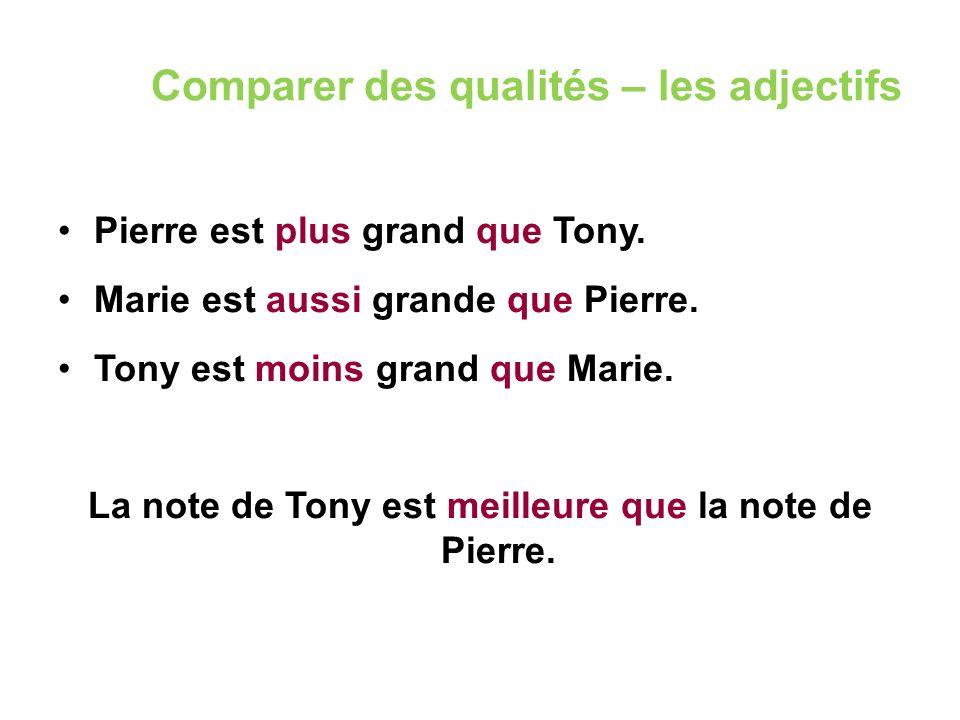 Comparer des qualités – les adjectifs Pierre est plus grand que Tony. Marie est aussi grande que Pierre. Tony est moins grand que Marie. La note de To