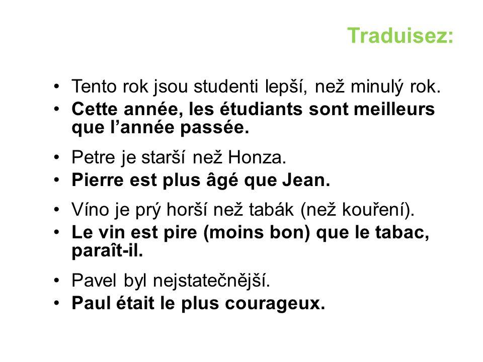 Traduisez: Tento rok jsou studenti lepší, než minulý rok.