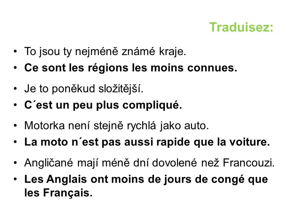 Traduisez: To jsou ty nejméně známé kraje. Ce sont les régions les moins connues.