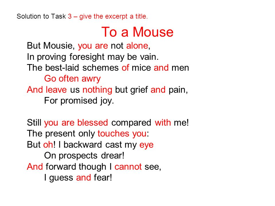 Solution to Task 3 – give the excerpt a title. To a Mouse But Mousie, you are not alone, In proving foresight may be vain. The best-laid schemes of mi