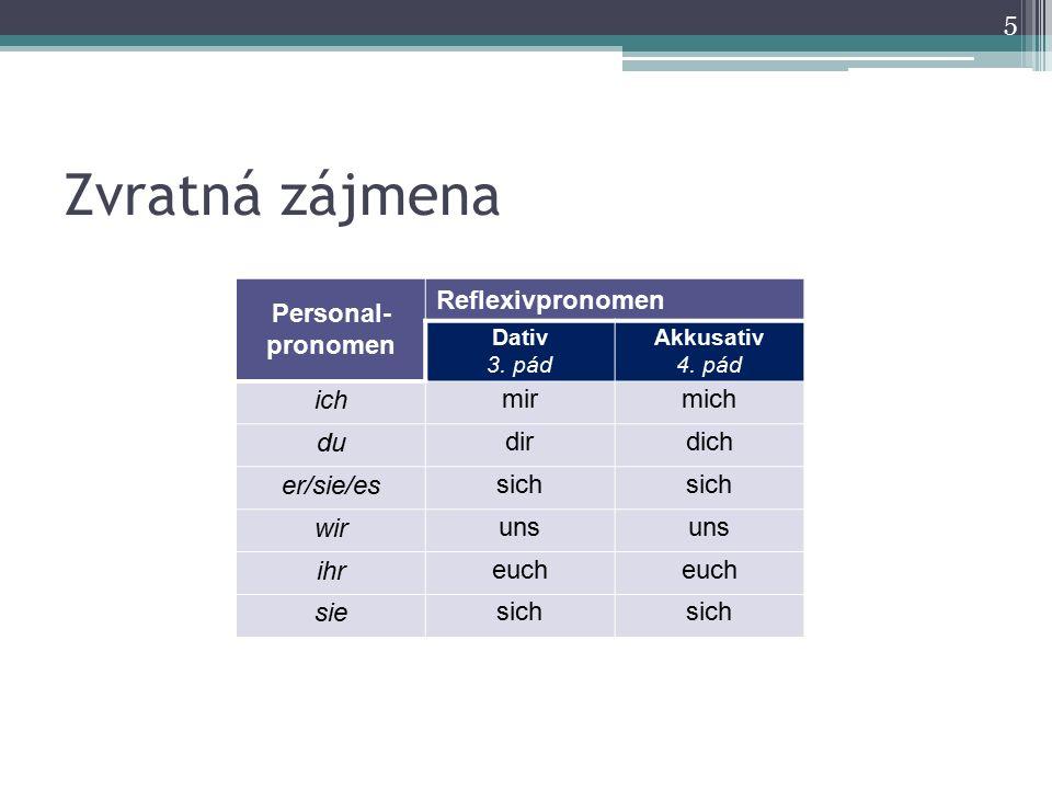 Zvratná zájmena Personal- pronomen Reflexivpronomen Dativ 3. pád Akkusativ 4. pád ichmirmich dudirdich er/sie/essich wiruns ihreuch siesich 5