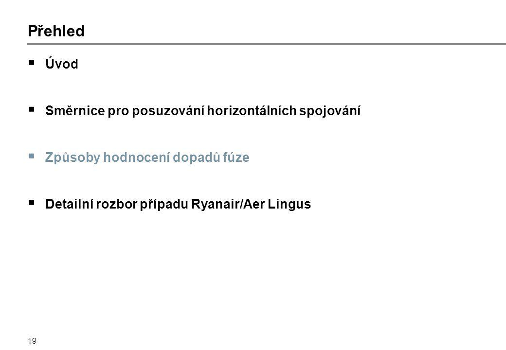 19 Přehled  Úvod  Směrnice pro posuzování horizontálních spojování  Způsoby hodnocení dopadů fúze  Detailní rozbor případu Ryanair/Aer Lingus