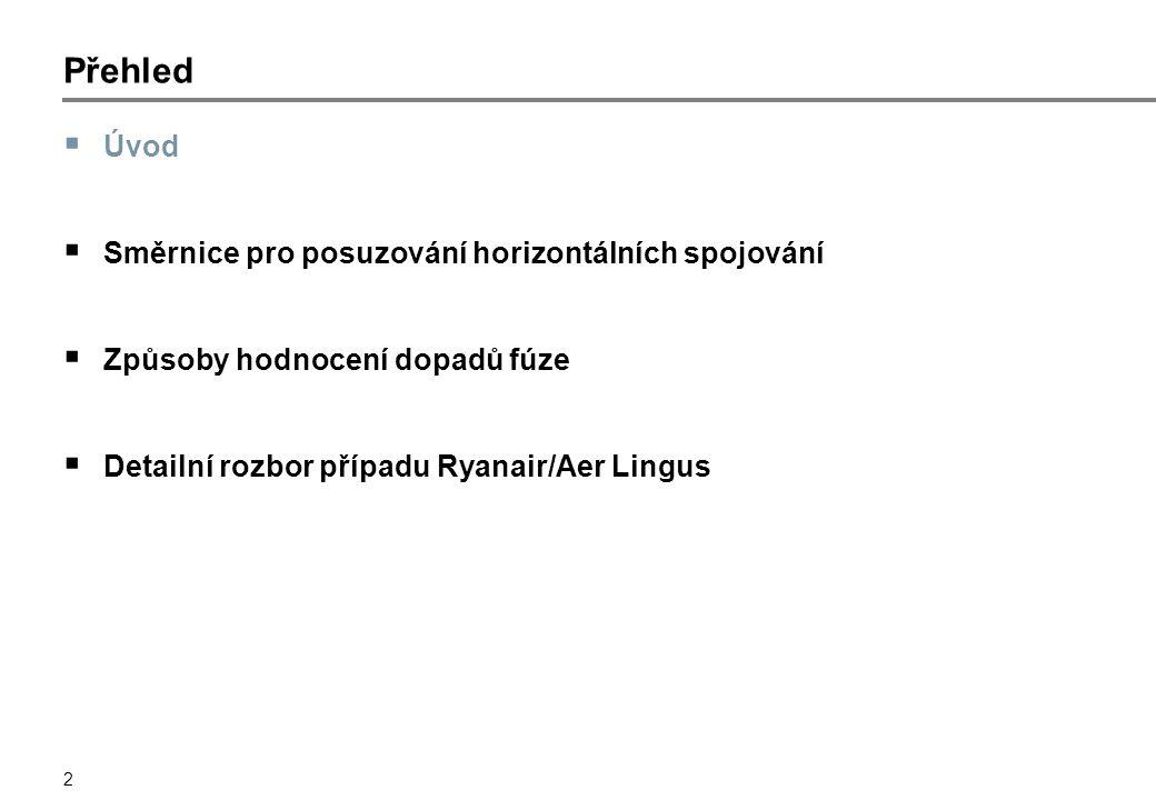 2 Přehled  Úvod  Směrnice pro posuzování horizontálních spojování  Způsoby hodnocení dopadů fúze  Detailní rozbor případu Ryanair/Aer Lingus