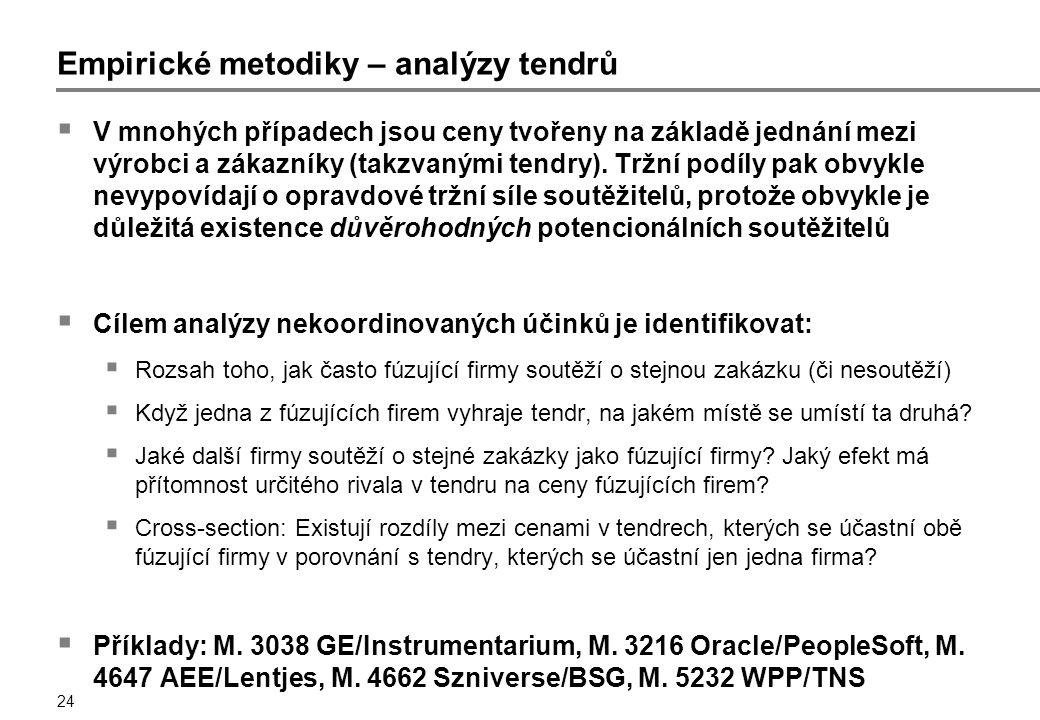 24 Empirické metodiky – analýzy tendrů  V mnohých případech jsou ceny tvořeny na základě jednání mezi výrobci a zákazníky (takzvanými tendry).