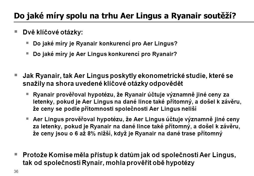 36 Do jaké míry spolu na trhu Aer Lingus a Ryanair soutěží.