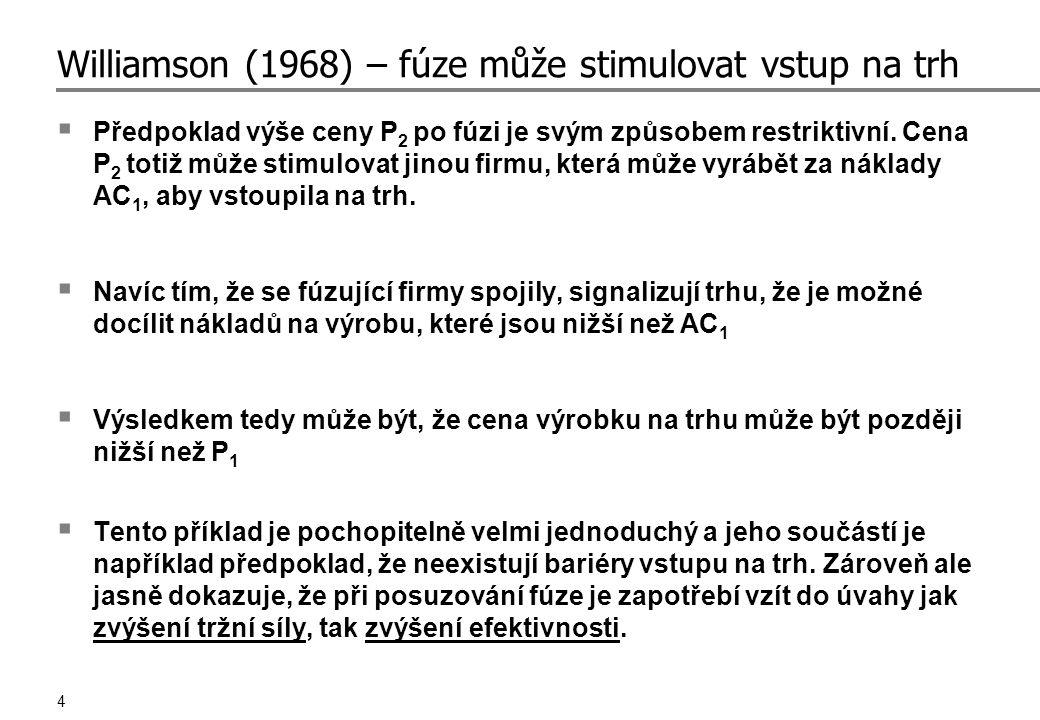 4 Williamson (1968) – fúze může stimulovat vstup na trh  Předpoklad výše ceny P 2 po fúzi je svým způsobem restriktivní.