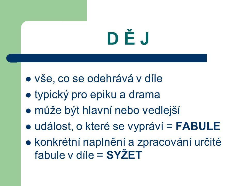 D Ě J vše, co se odehrává v díle typický pro epiku a drama může být hlavní nebo vedlejší událost, o které se vypráví = FABULE konkrétní naplnění a zpracování určité fabule v díle = SYŽET