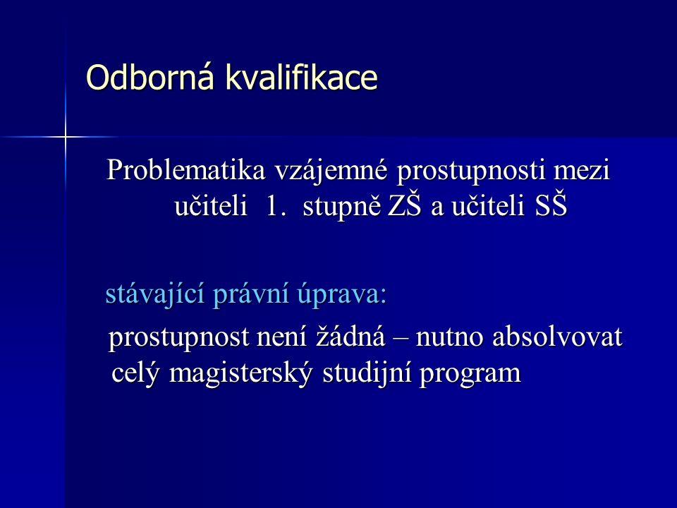 Odborná kvalifikace Problematika vzájemné prostupnosti mezi učiteli 1.