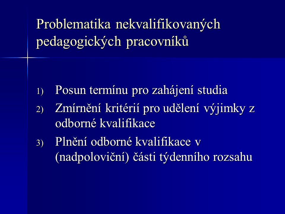 Problematika nekvalifikovaných pedagogických pracovníků 1) Posun termínu pro zahájení studia 2) Zmírnění kritérií pro udělení výjimky z odborné kvalifikace 3) Plnění odborné kvalifikace v (nadpoloviční) části týdenního rozsahu