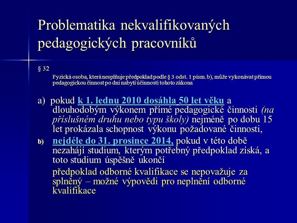 Problematika nekvalifikovaných pedagogických pracovníků § 32 Fyzická osoba, která nesplňuje předpoklad podle § 3 odst.