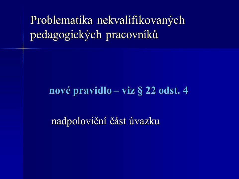 Problematika nekvalifikovaných pedagogických pracovníků nové pravidlo – viz § 22 odst.