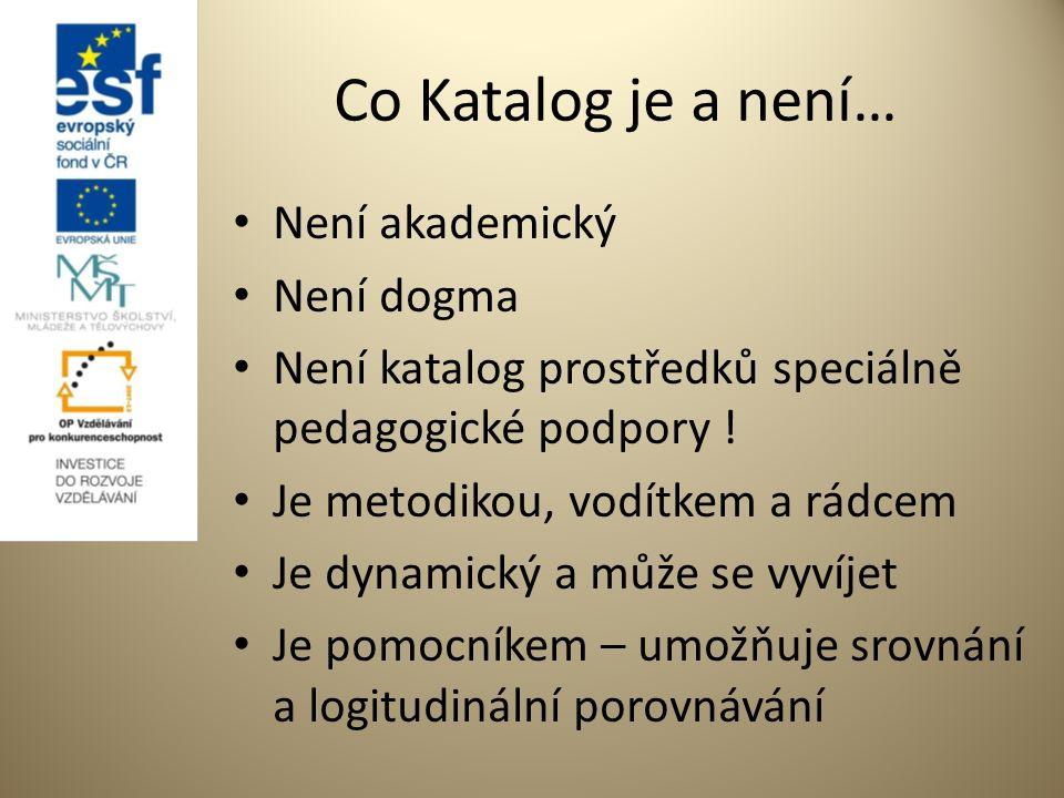 Co Katalog je a není… Není akademický Není dogma Není katalog prostředků speciálně pedagogické podpory .