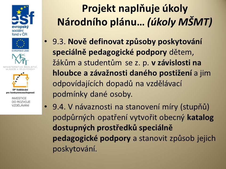 Projekt naplňuje úkoly Národního plánu… (úkoly MŠMT) 9.3.