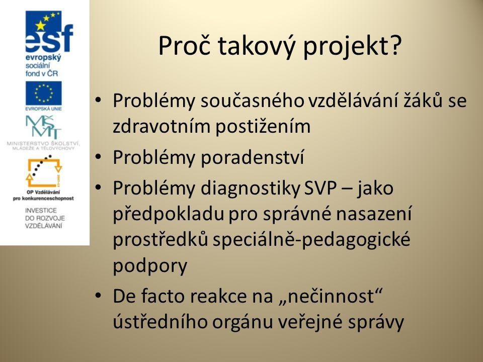 """Cíle projektu – Inovace SPC Obecný -Zlepšit naplňování SVP dětí a žáků se zdravotním postižením Konkrétní -Výstupy projektu zajistit objektivizované, standardizované a """"spravedlivé posuzování míry SVP Dílčí - Souborem KA provést """"podpůrné mechanismy naplňující obecný a konkrétní cíl"""