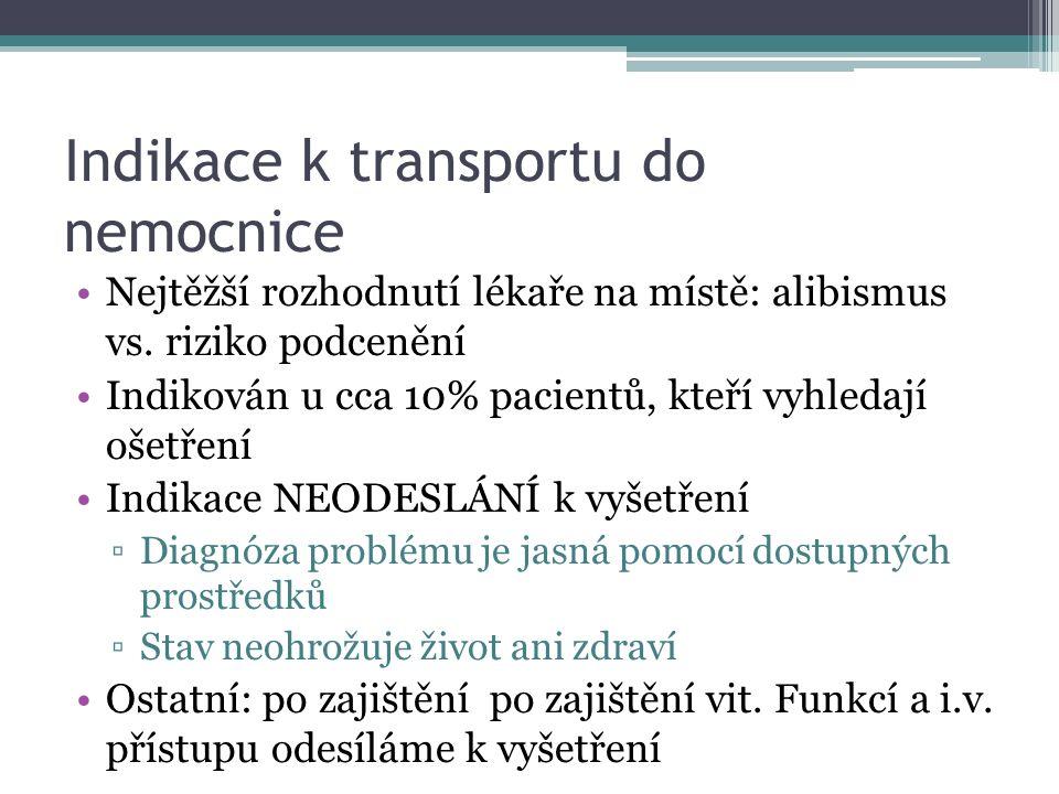 Indikace k transportu do nemocnice Nejtěžší rozhodnutí lékaře na místě: alibismus vs.